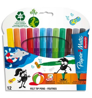 REYNOLDS Pochette 12 feutres de coloriage SUPER PROPY. Pointe extra-large. Coloris assortis