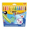 BIC KIDS Pochette 12 feutres de coloriage KID COULEUR BABY. Pointe extra-large. Coloris assortis