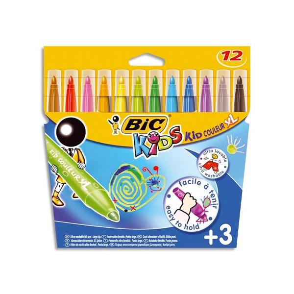BIC KIDS Pochette 12 feutres de coloriage KID COULEUR BABY. Pointe extra-large. Coloris assortis (photo)