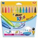 BIC KIDS Pochette 12 feutres de coloriage VISACOLOR. Pointe extra-large. Coloris assortis