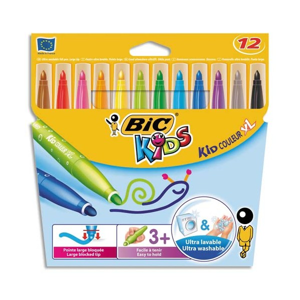 BIC KIDS Pochette 12 feutres de coloriage VISACOLOR. Pointe extra-large. Coloris assortis (photo)