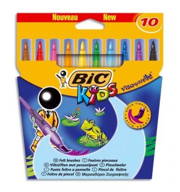 BIC KIDS Pochette 10 feutres à dessin pointe pinceau encre lavable CONTE VISAQUARELLE