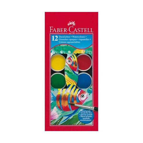 FABER CASTELL Boîte plastique de 12 pastilles de peinture gouaches + 1 pinceau