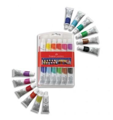FABER CASTELL Etui plastique de 12 tubes gouache avec pinceau