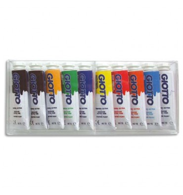 GIOTTO Boîte rigide packebordable de 10 tubes 10 ml de gouache, coloris assortis