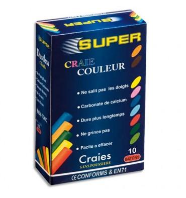 JPC Boîte de 10 craies anti-poussières coloris assortis