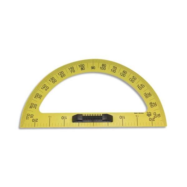 SAFETOOL Rapporteur en plastique incassable jaune gradué 50 cm avec poignée noire amovible pour tableau