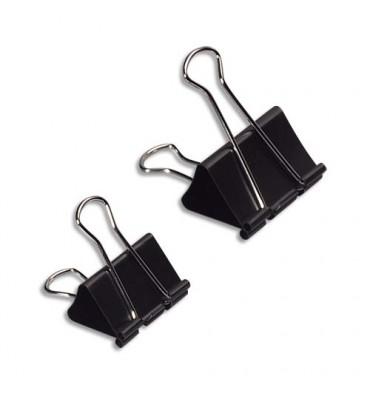 WONDAY Boîte de 12 pinces double clip largeur 25 mm capacité 8 mm