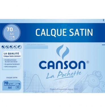 CANSON Pochette de 12 feuilles papier calque satin 90g 24 x 32