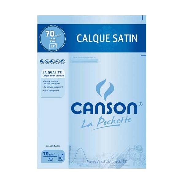 CANSON Pochette de 10 feuilles papier calque satin 70g A3