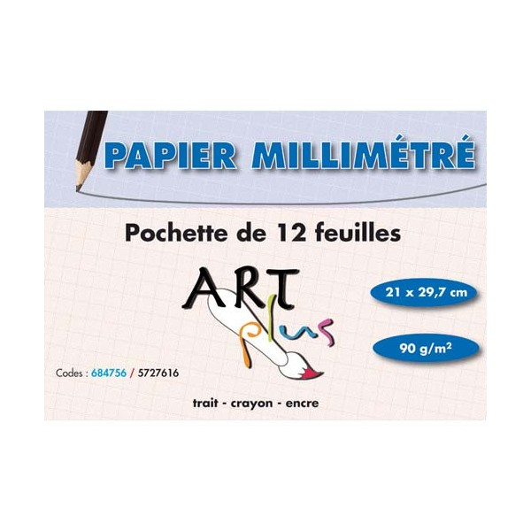 ART PLUS BY ARTLINE Pochette de 12 feuilles papier millimétré 90g format A4 (photo)