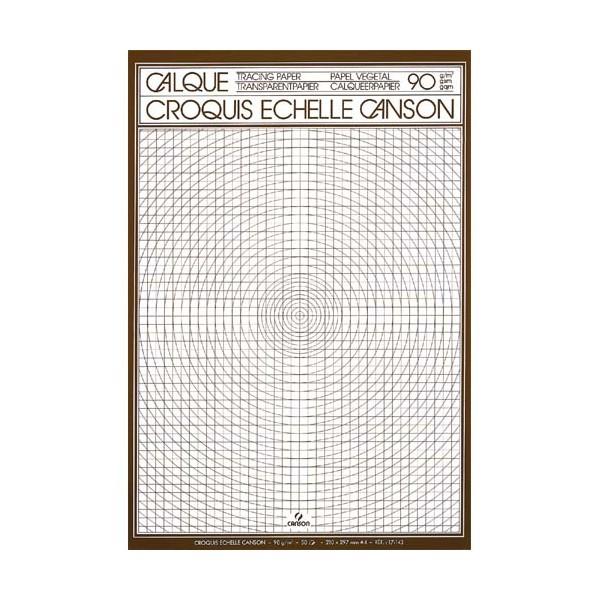 CANSON Bloc de papier calque croquis échelle 50 feuilles 90g A3 (photo)