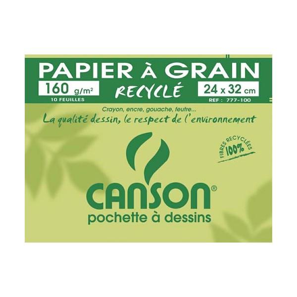 CANSON Pochette de 10 feuilles de papier dessin recyclé 160g 24 x 32 cm