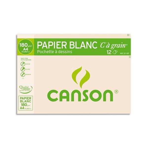 CANSON Pochette de 12 feuilles de papier dessin C A GRAIN 180g A4