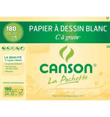 CANSON Pochette de 12 feuilles de papier dessin C A GRAIN 180g 24 x 32 cm