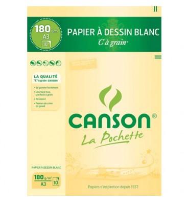 CANSON Pochette de 10 feuilles de papier dessin C à grain 180g A3