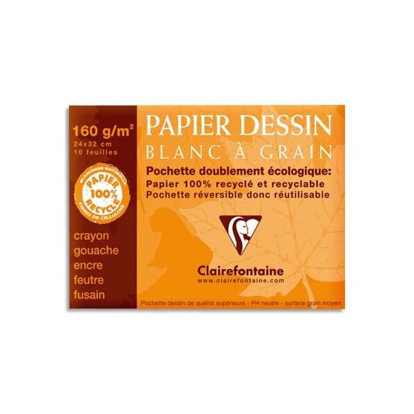 CLAIREFONTAINE Pochette de 12 feuilles papier dessin blanc 24 x 32 cm 180g