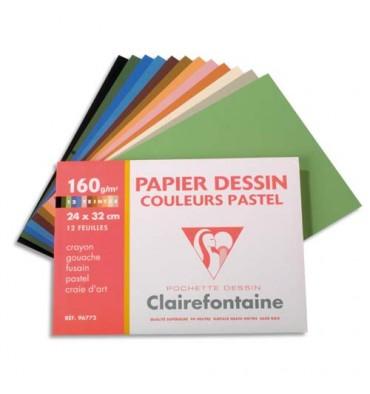 CLAIREFONTAINE Pochette de 12 feuilles papier dessin couleur teintes pastels 160g 24x 32 cm