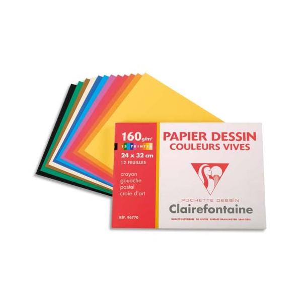 CLAIREFONTAINE Pochette de 12 feuilles papier dessin couleur teintes vives 160g 24 x 32 cm