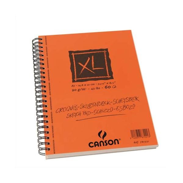 CANSON Album de 60 feuilles papier dessin CROQUIS XL spirale grand côté 90g A5 (photo)