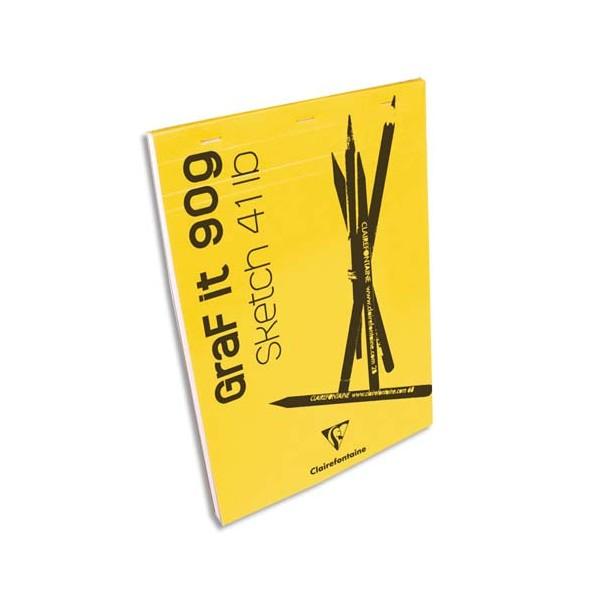 CLAIREFONTAINE Bloc de croquis Graf It format A5 80 pages micro-perforées 90g