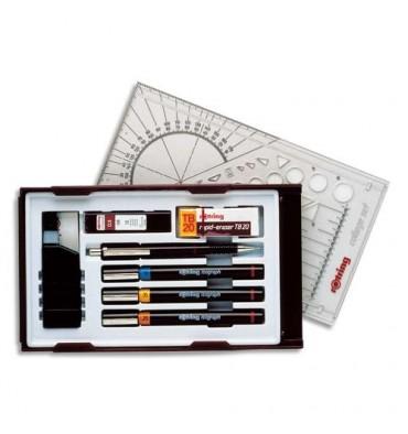 ROTRING Coffret 3 stylos techniques ISOGRAPH, encre, gomme, porte-mine et 1 étui mine avec système PEN STATION