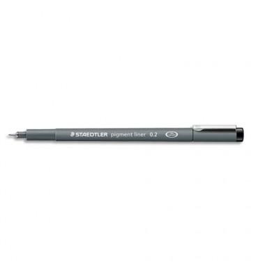 STAEDTLER Stylo feutre pointe calibrée baguée métal 0,2 mm, encre noire pigmentée infalsifiable résiste aux UV