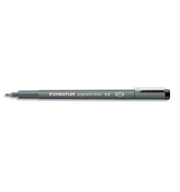 STAEDTLER Stylo feutre pointe calibrée baguée métal 0,8 mm, encre noire pigmentée infalsifiable résiste aux UV