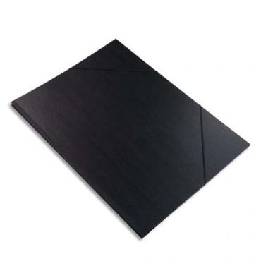 EXACOMPTA Carton à dessin avec élastiques vergé kraft noir 45 x 32 cm noir
