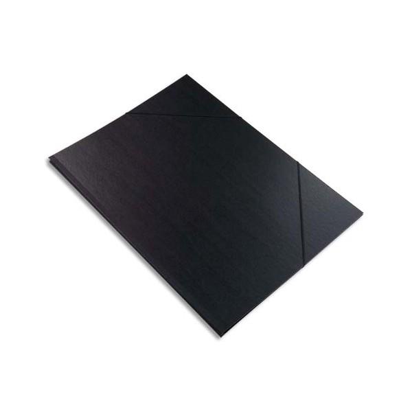 EXACOMPTA Carton à dessin avec élastiques vergé kraft noir 26 x 33 cm noir