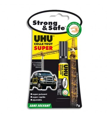 UHU Tube de Colle Strong & Safe repositionnable entre 20 et 60 seondes de 7 g