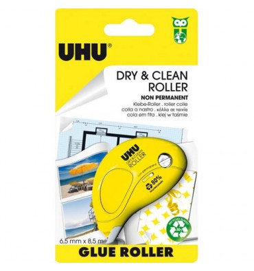UHU Roller Dry & Clean Jetable et repositionnable 8,5 mètres x 6,5 mm