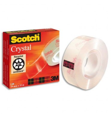 SCOTCH Ruban adhésif Crystal 600 en boîte individuelle, 19 mm x 33 m