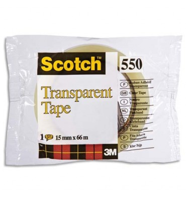 SCOTCH Ruban adhésif transparent 15 mm x 66 m en sachet individuel