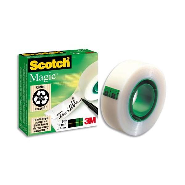 SCOTCH Ruban adhésif invisible Magic 810 en boîte individuelle, 19 mm x 66 m