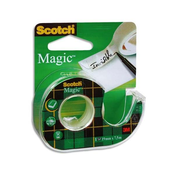 SCOTCH Ruban adhésif invisible Magic 810 sur dévidoir plastique 19 mm x 7,5 m