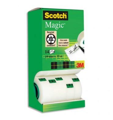 SCOTCH Tour distributrice de 14 rouleaux adhésifs invisibles Magic 810 - 19 mm x 33 m