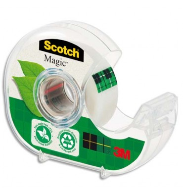 SCOTCH Dévidoir à main transparent en plastique recyclé à 90% avec rouleau Magic Tape Recyclé de 19 mm x 33 m