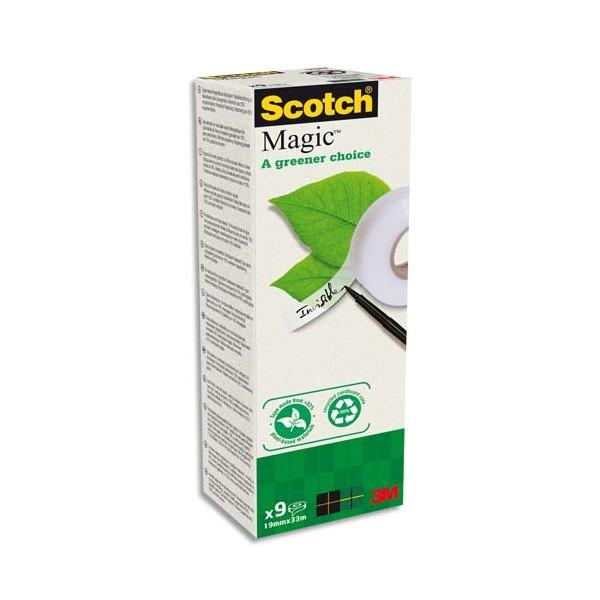 SCOTCH Boîte de 9 rubans Scotch Magic bague carton recyclé, 19 mm x 33 m
