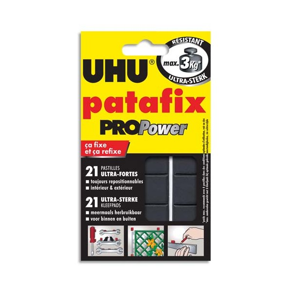 UHU Etui de 21 pastilles Patafix Pro Power adhésives résistantes pour utilisation intérieure et extérieure