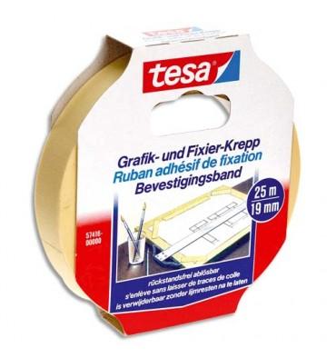 TESA Ruban adhésif papier Krepp spécial arts graphiques format de 19 mm x 25 m
