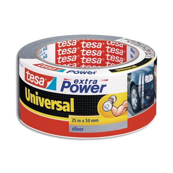TESA Rouleau de toile adhésive renforcée 25 m x 50 mm coloris gris (photo)