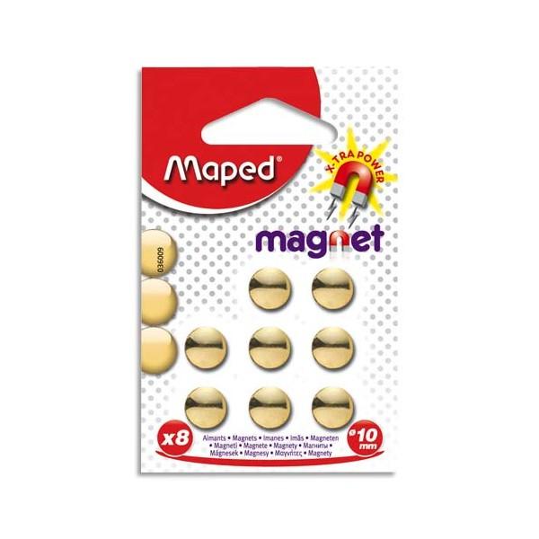 MAPED Blister de 8 aimants diamètre 10 mm coloris or