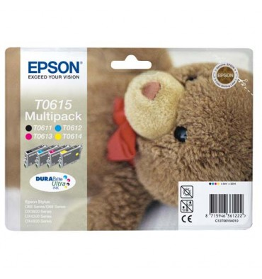 EPSON Multipack de 4 cartouches jet d'encre couleur T0615