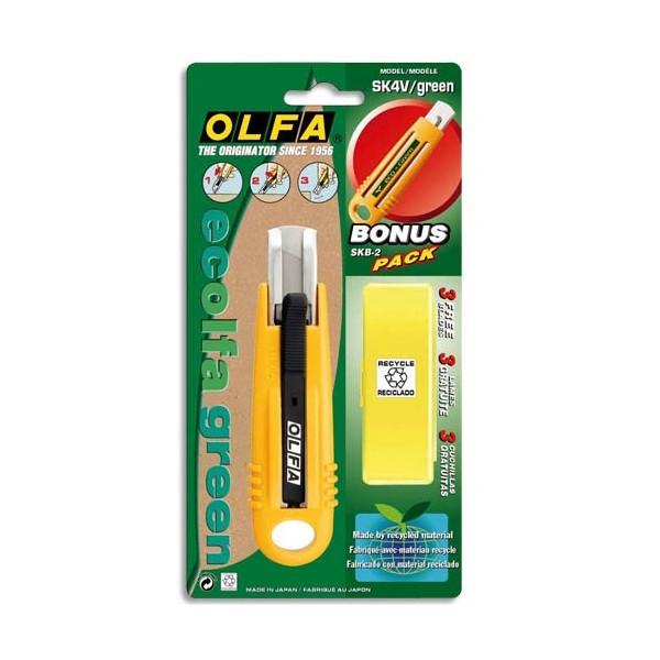 OLFA Cutter de sécurité SK4 corps ABS 100% recyclé, lame 17,5 mm rétractable, ambidext