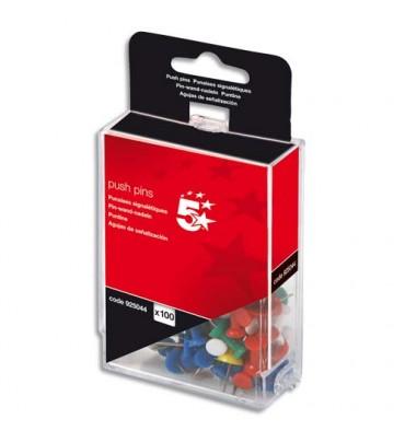 5 ETOILES Boîte de 100 push pins Coloris opaque assortis