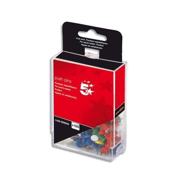 5 ETOILES Boîte de 100 push pins Coloris opaque assortis (photo)
