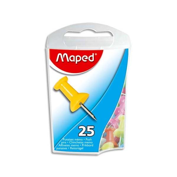 MAPED Boîte de 25 punaises mémo 10 mm coloris assortis