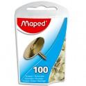 MAPED Boîte de 100 punaises en acier cuivrées 10 mm