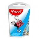 MAPED Boîte de 12 pinces clip largeur 15 mm coloris assortis